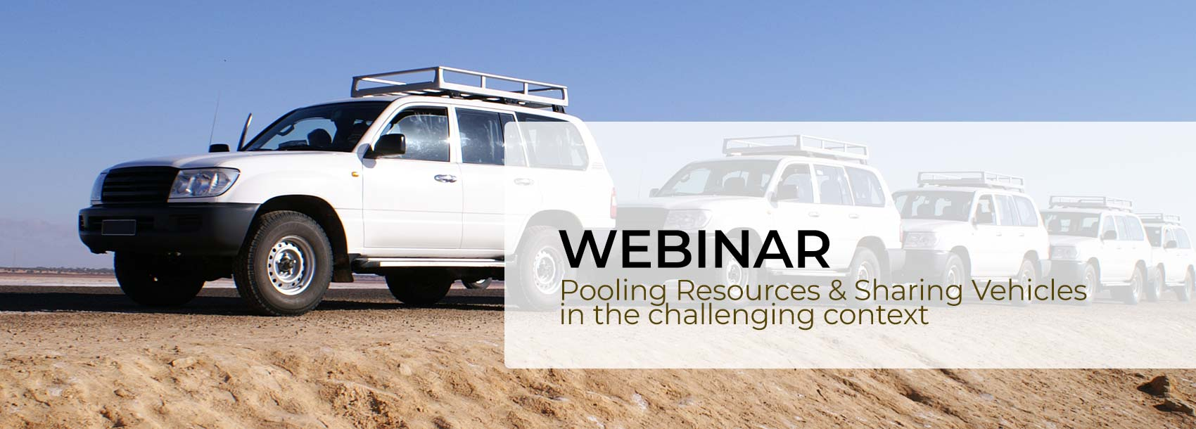HumaNav webinar banner : pooling resources & sharing vehicles