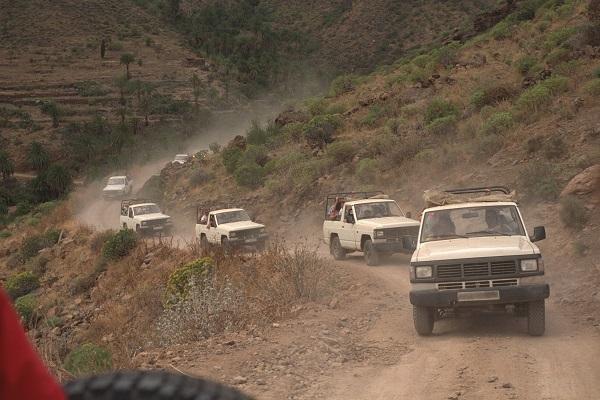 convoy of humanitarian jeeps