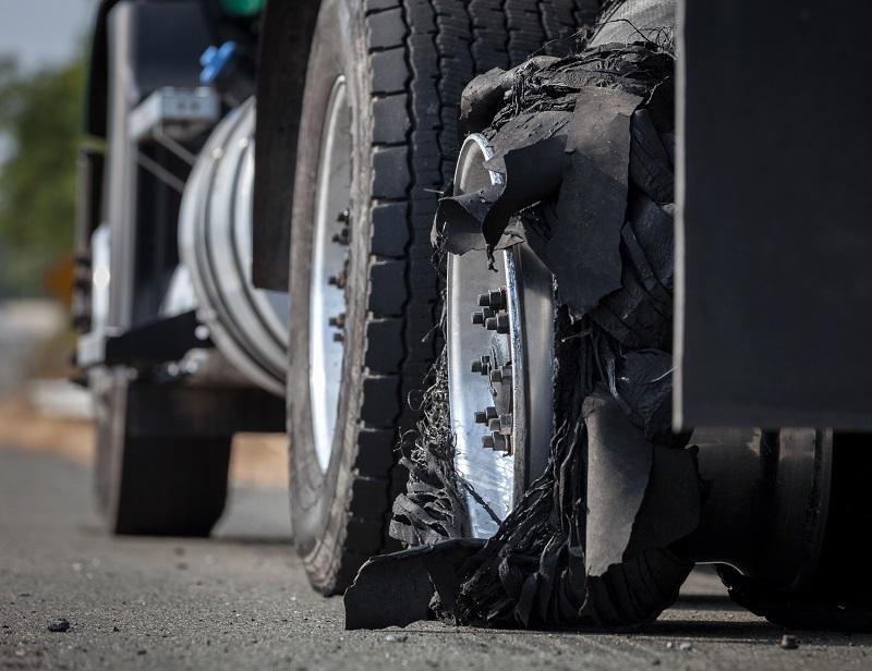 burst semi-trailer tyre